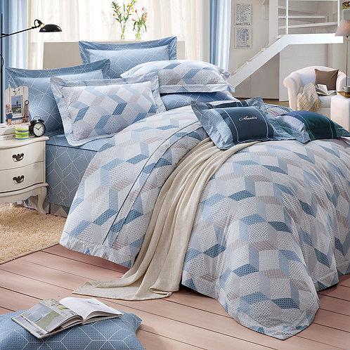 俏皮部落(藍)七件式床罩組