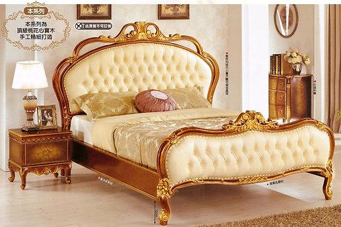 克瑞斯6尺法式胡桃金邊雙人床