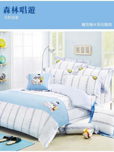 繪見幾米限量擁抱雪人格紋兩用被床包四件組