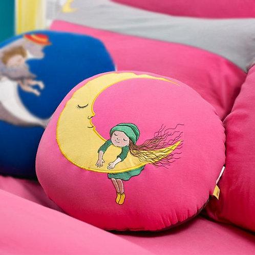 【繪見幾米】粉色 城市月亮-針織圓抱枕/單顆