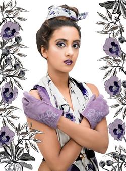 Poppy violet suede gloves