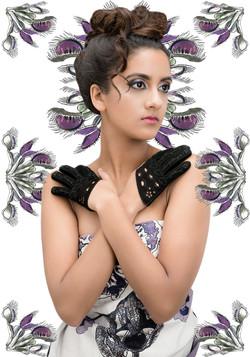 Venus black suede mini gloves