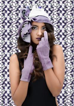 Helen violet suede gloves