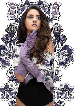 Jessica violet suede gloves
