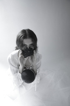 Model with SCOBY-compo bags and a mask