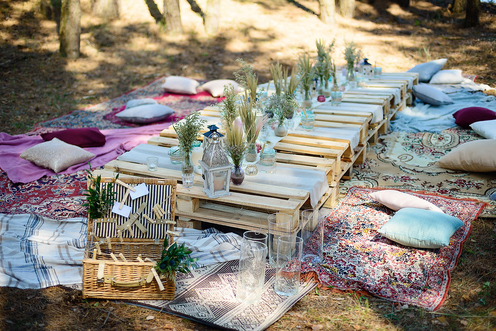 Boho style party decor in the forest. P