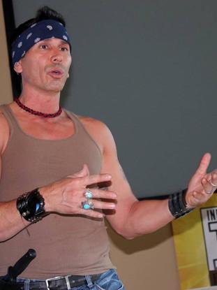 Snake Blocker teaching Apache Knife Fighting & Battle Tactics, New Mexico