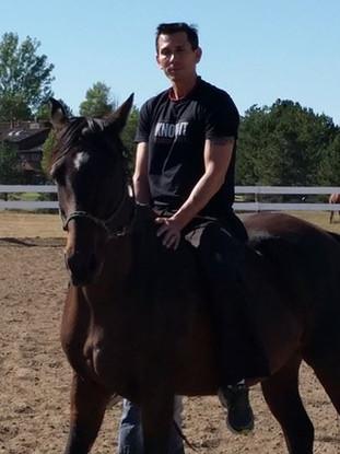 Snake Blocker riding in Colorado