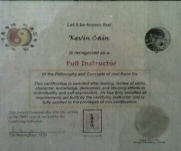 Kevin RavinHawk Cain's Certificate