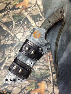 Apache Falcon Knife by Snake Blocker (Made in the USA by Tops Knives) in Custom Sheath