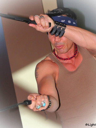 Snake Blocker teaching Apache Knife Fighting & Battle Tactics in New Mexico