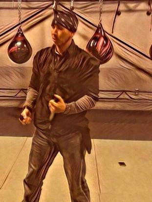 Snake Blocker teaching Apache Knife Fighting & Battle Tactics