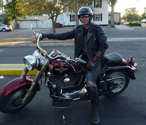 Snake Blocker on his Harley Fat Boy