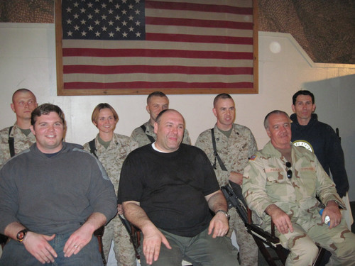 Snake Blocker (back right) with NFL Player, Jon Stinchcomb (front left), Soprano Actor, James Gandolfini (front center) and Soprano Actor, Tony Sirico (front right) in Afghanistan 2010