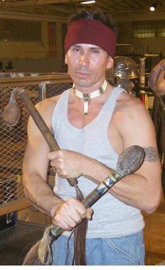 Snake Blocker on the set filming Deadliest Warrior, Apache versus Gladiator, Episode 1, Season 1