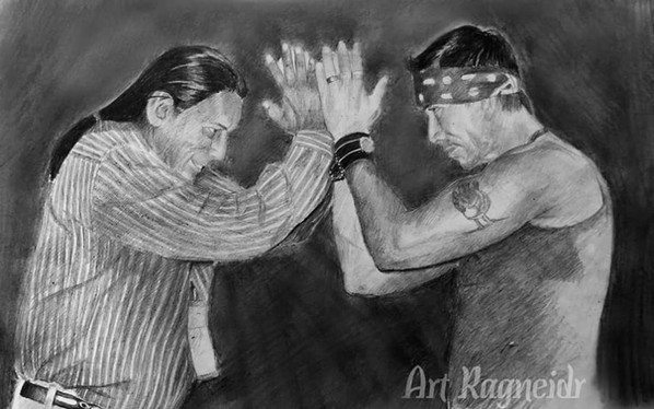 Apache Champions: Alan Tafoya and Snake Blocker (photo below). Drawing at top of page and below by Julia Alekseyevna Kravets.  Drawing below comes from an original photo by Nancy Smith (Lightning Photography) taken in 2017 in New Mexico.