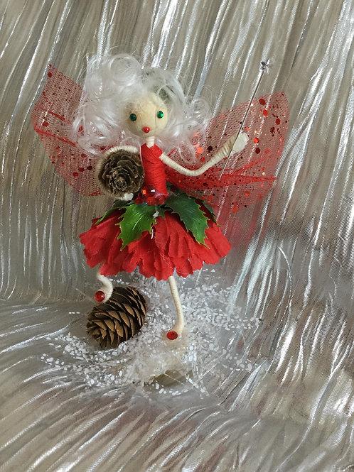 Christmas Holly Fairy - Pinecone