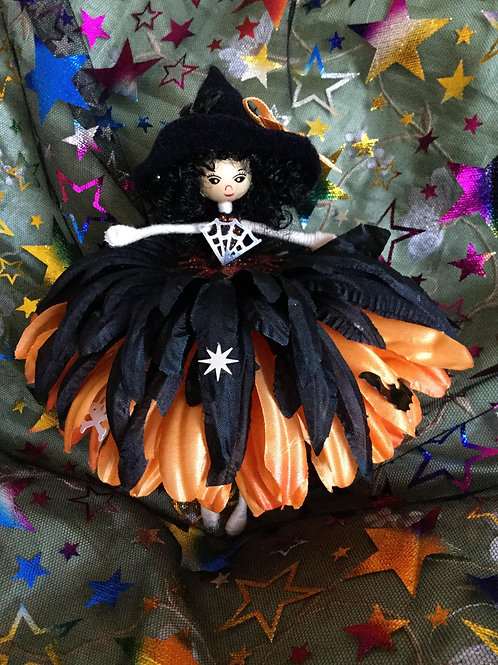 Large Black & Orange Halloween Flower Fairy
