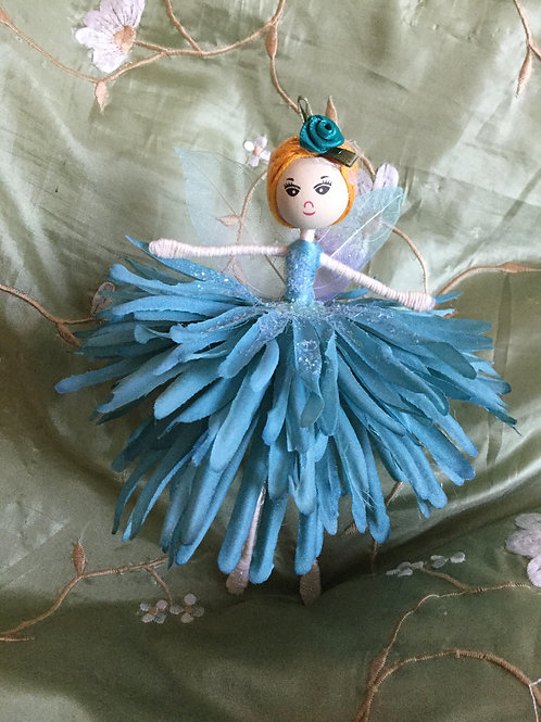 Large Dahlia Flower Fairy - Blue