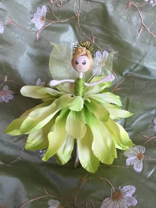 Large Dahlia Flower Doll - Yellow