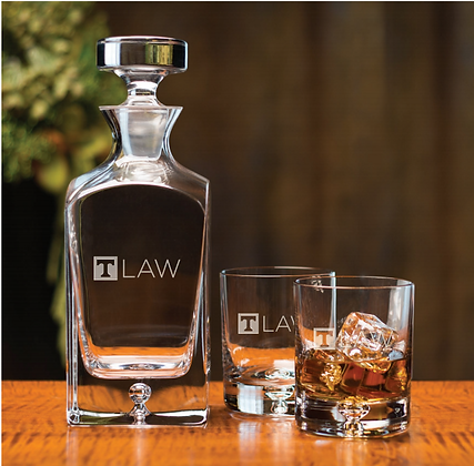 """Deluxe """"T-Law"""" Deep Etch Square Decanter Set"""
