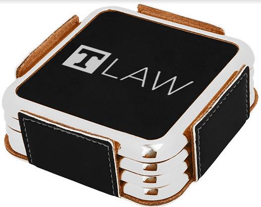 """""""T-Law"""" Laser Engraved Leatherette Coaster Set"""