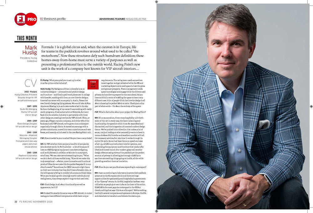Mark Huslig Interview in November 2019 F1 Racing Magazine