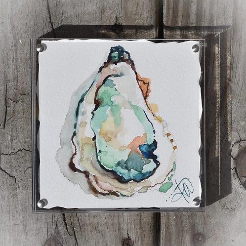Wedding Oyster 5x5 glass framed