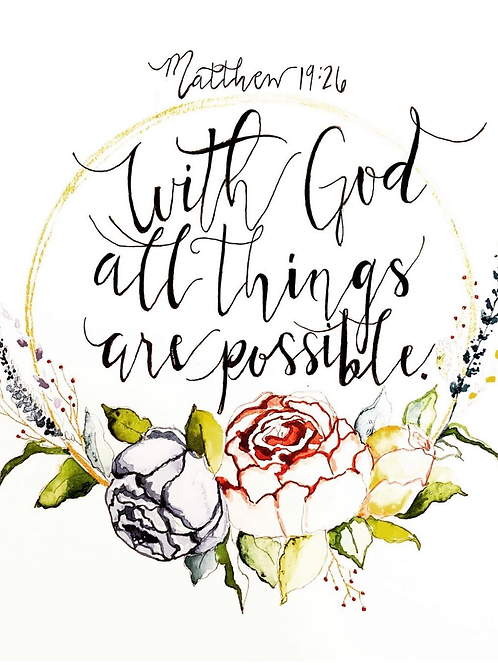 """With God all things are Possible"" 8x10 original watercolor painting"