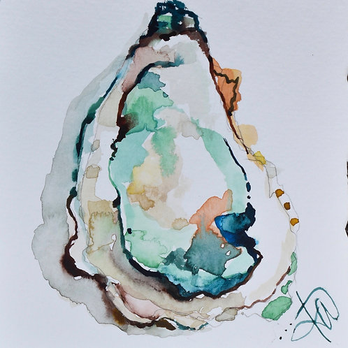 Oyster in Teal and Coral 8x8 print