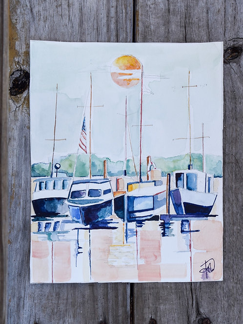 Charleston Harbor 8x10 watercolor original