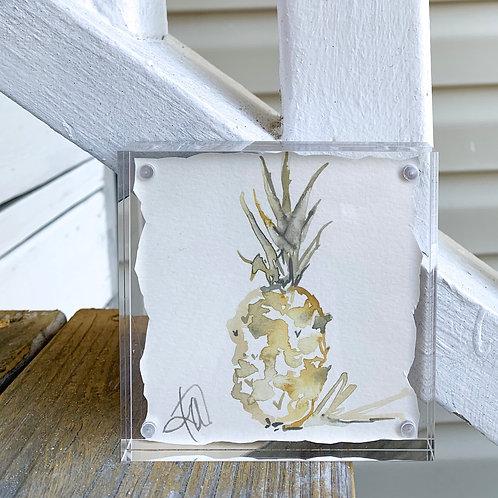 """Pineapple Fancy"" ~ framed original 4x4 painting"