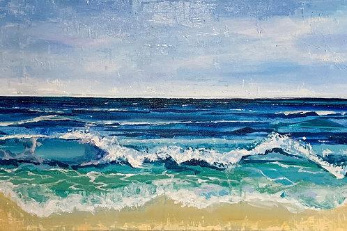 """""""Oceans"""" original 15x30 painting"""