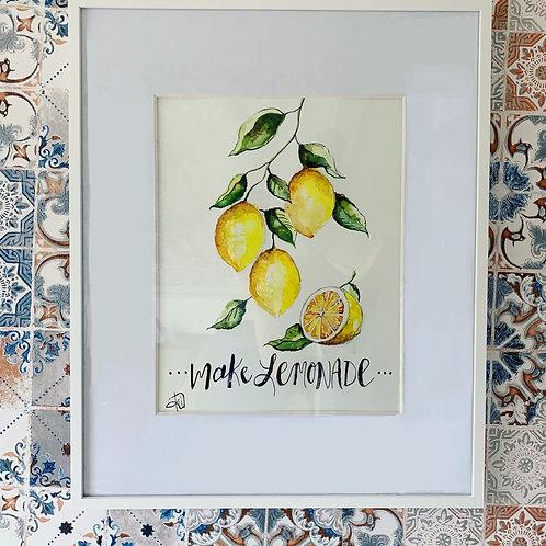 """""""Make Lemonade"""" 11x14 framed watercolor original"""