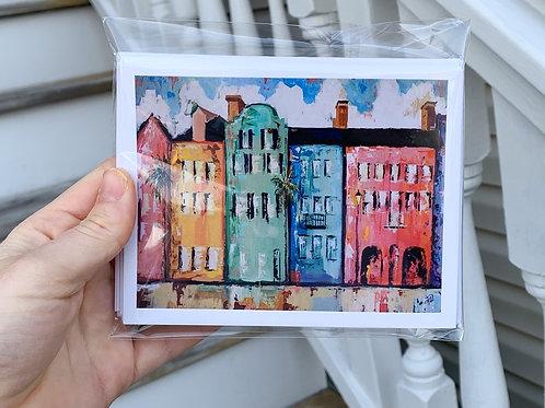 Rainbow Row notecard set of 6 cards + 6 envelopes