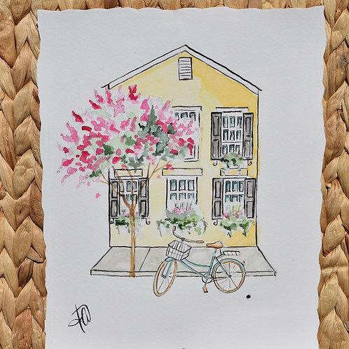 Yellow House 8x10 watercolor original