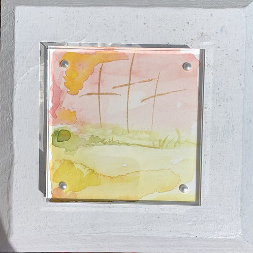 """Old Rugged Cross"" 4x4 framed Mini original painting"