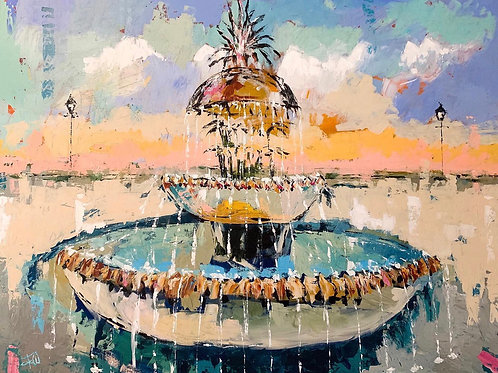 """Pineapple Fountain"" 5x7 matted or 8x10 unmatted print"