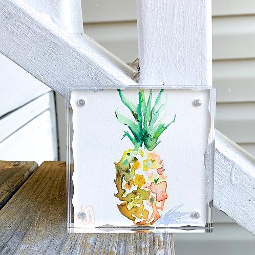 """Pineapple Paradise""~ framed original 4x4 painting"
