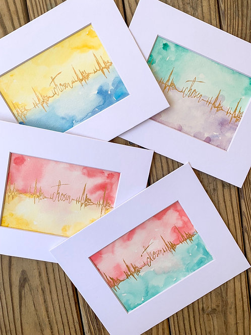 Hand-painted original Chosen Watercolor paintings 5x7 matted