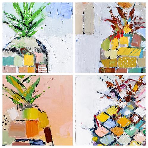 Abstract Pineapple Print Set (4-8x8)