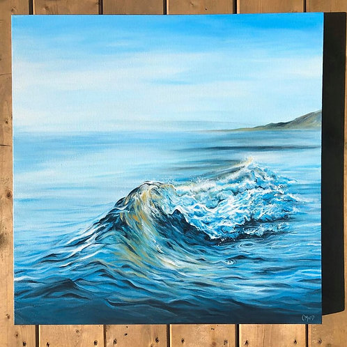 "Blue waves series 01- 24"" x 24"" Framed"