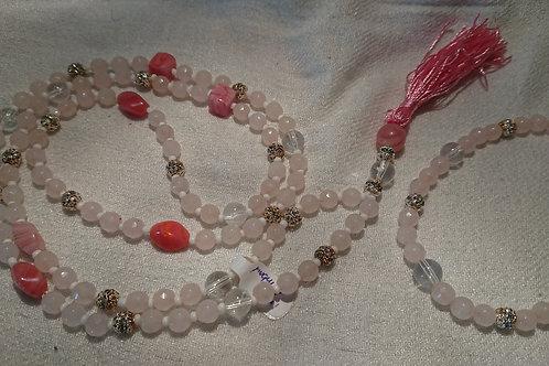 Rosenquarz Mala -  Gebetskette mit 108 Perlen