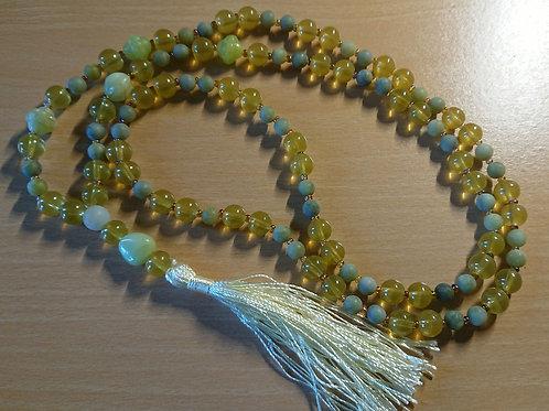 Mala für das Herzchakra -  Gebetskette mit 108 Perlen