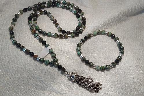 Grau-Güne Mala mit Metallquaste inkl. Armband -  Gebetskette mit 108 Perlen