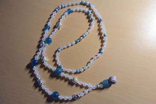 Mala in Rose und Türkis mit Rosenquarz -  Gebetskette mit 108 Perlen