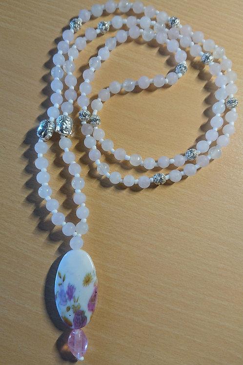 Mala mit Rosenquarz für das Wurzelchakra -  Gebetskette mit 108 Perlen