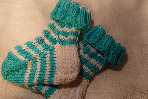 Babysocken in türkis-weis