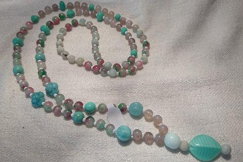 Farbe Türkis-Weis Mala -  Gebetskette mit 108 Perlen