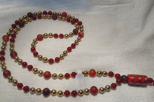 Rot-Goldene Mala Wurzelchakra Muladhara -  Gebetskette mit 108 Perlen